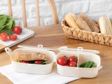 Trendy Plastik 3 Bölmeli Lunch Box 15x10 Cm Bej