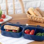 Trendy Plastik 3 Bölmeli Lunch Box 15x10 Cm Lacivert