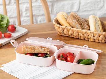 Trendy Plastik 3 Bölmeli Lunch Box 15x10 Cm Pudra