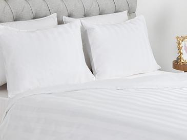 Wide Stripe Çizgili Pamuk Saten King Size Nevresim Takımı 240x220 Cm Beyaz
