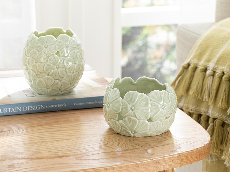 Hortensia Porselen Dekoratif Kase 12.3*12.3*8.2 Cm Yeşil