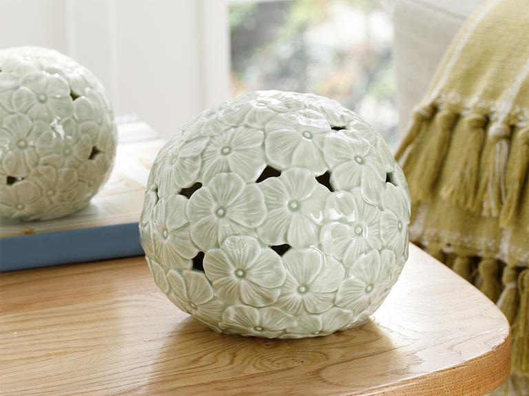 Hortensia Porselen Ledli Dekoratif Obje 14.5*14.5*12.7 Cm Yeşil