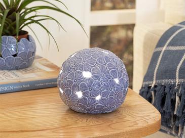 Hortensia Porselen Ledli Dekoratif Obje 14.5*14.5*12.7 Cm Lila