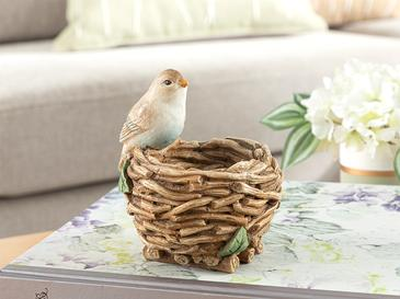 Happy Bird Dekoratif Obje 10x10x12,5 Cm Kahve