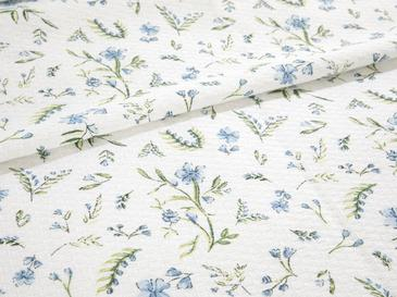 Country Flowers Baskılı Tek Kişilik Pike Takımı 150x220 Cm Mavi