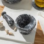 Marble Mermer Havan 11 Cm Koyu Gri