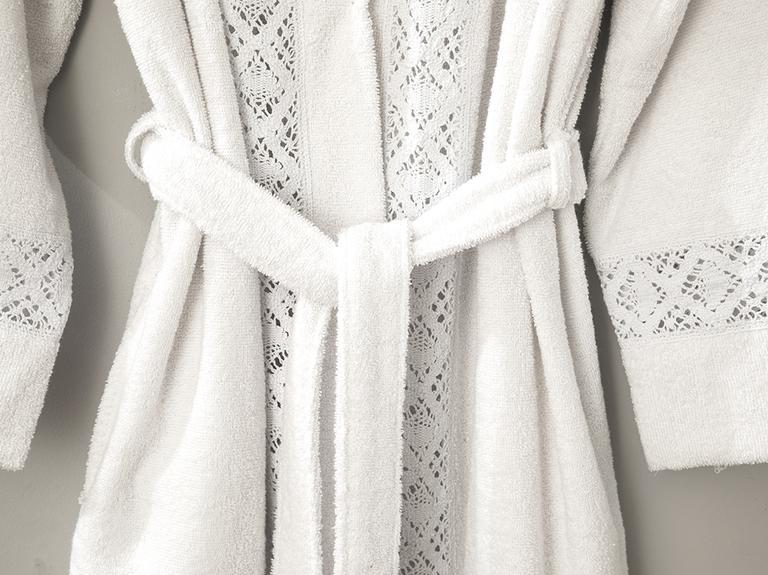 Lacy Dantelli Bornoz S-M Beyaz