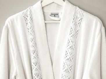 Lacy Dantelli Bornoz L-XL Beyaz