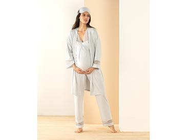 Mommy Viskon Hamile Pijama Takımı L Gri