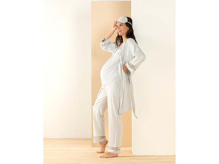 Mommy Viskon Hamile Pijama Takımı M Gri