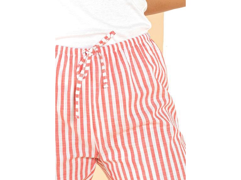 Striped Red Dokuma Uzun Tek Alt L Kırmızı