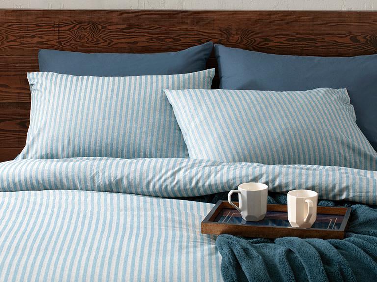 Classy Melange Twill Çift Kişilik Nevresim Takımı 200x220 Cm Mavi