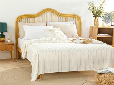 Gold Stripe Simli Pamuk Viskon Çift Kişilik Pike Seti 200x220 Cm Beyaz – Gold