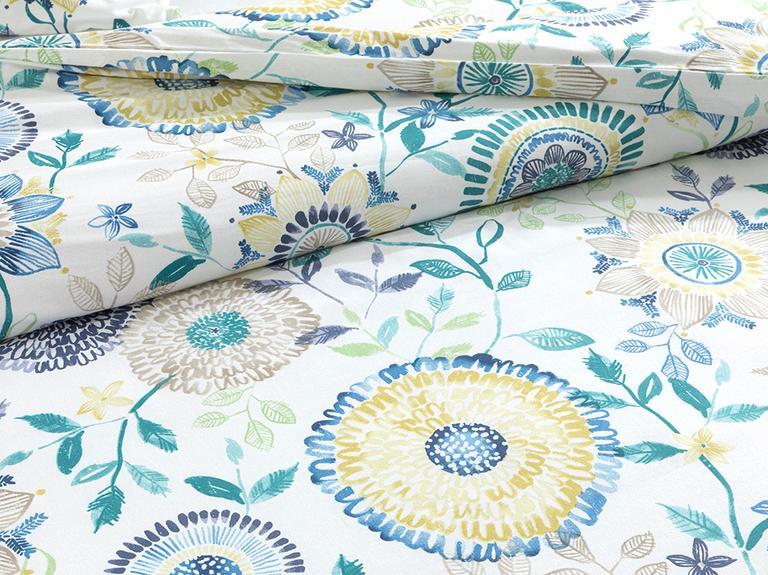 Chrysant Pamuklu King Size Nevresım Setı 240x220 Cm Mavi