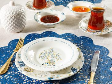 Anemon Porselen 8 Parça 2 Kişilik Kahvaltı Takımı Pembe - Mavi - Yeşil