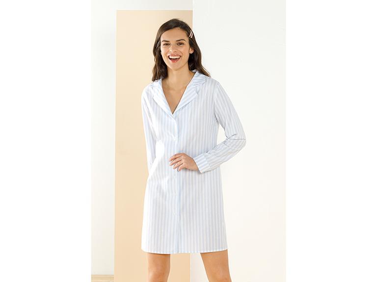 Striped Shirt Dokuma Gömlek Gecelik S Mavi