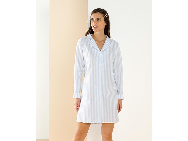 Striped Shirt Dokuma Gömlek Gecelik L Mavi