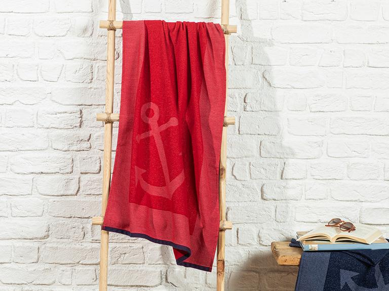 Anchor Jakarlı Plaj Havlusu 70x150 Cm Kırmızı