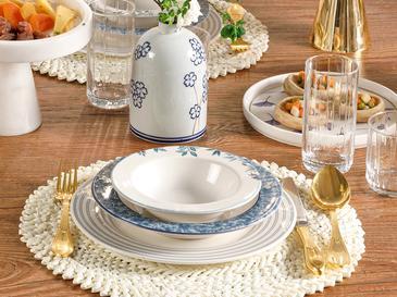 Bluerse Porselen Yemek Takımı 17cm-24cm-26cm-20cm Mavi - Yeşil