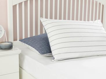 Textured Stripe Pamuklu 2'li Yastık Kılıfı 50x70 Cm Lacivert