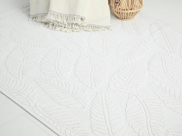Leafy Pamuklu Kilim 50x80 Cm Beyaz