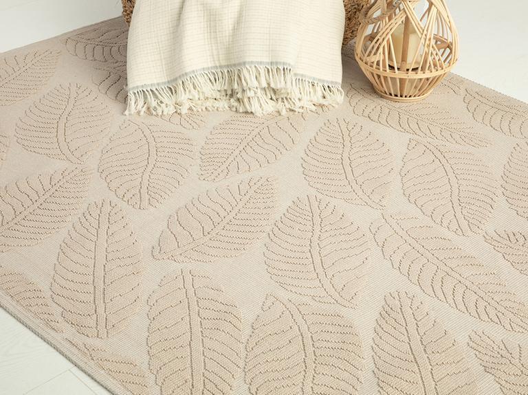 Leafy Pamuklu Kilim 60x100 Cm Bej