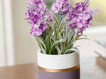 Lavender Seramik Vazolu Yapay Çiçek 13x13x18 Cm Mor