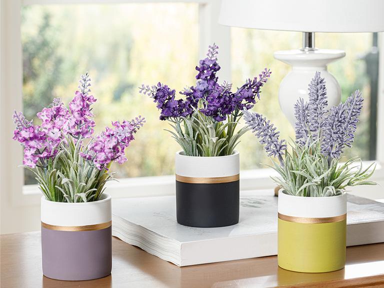 Lavender Seramik Vazolu Yapay Çiçek 11x11x18 Cm Yeşil