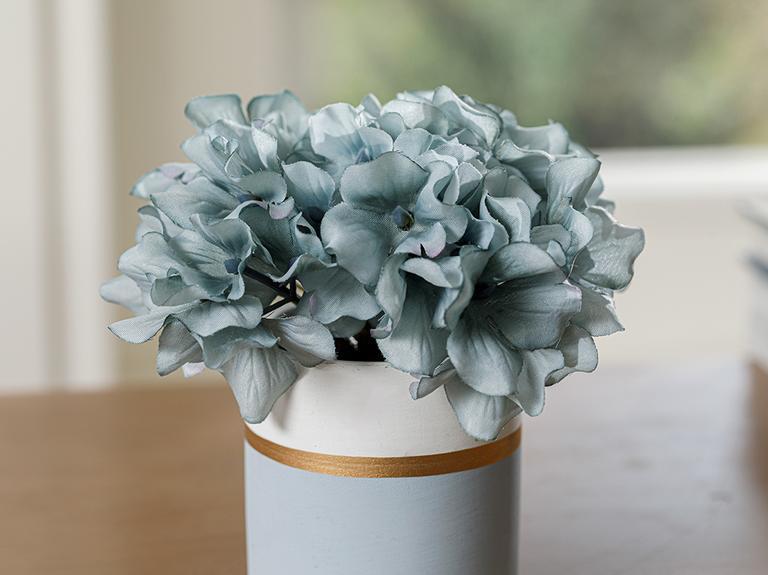 Hortensia Seramik Vazolu Yapay Çiçek 13x13x13 Cm Mavi