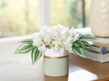 Hortensia Seramik Vazolu Yapay Çiçek 15x15x15 Cm Yeşil