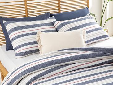 Modern Stripe Pamuklu Çift Kişilik Nevresim Seti 200x220 Cm Lacivert