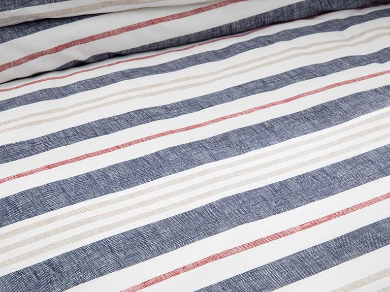Modern Stripe Pamuklu Tek Kişilik Nevresim Seti 160x220 Cm Lacivert