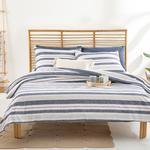 Modern Stripe Pamuklu King Size Nevresim Seti 240x220 Cm Lacivert
