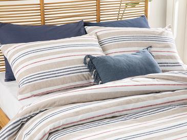 Modern Stripe Pamuklu Çift Kişilik Nevresim Seti 200x220 Cm Bej