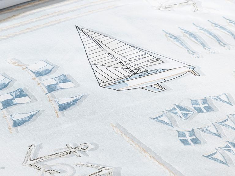 Ahoy Captain Pamuklu King Size Nevresim Seti 240x220 Cm Mavi