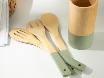 Macy Bambu 4 Parça Servis Seti 30 Cm Yeşil