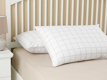 Plain Check Kombin Pamuklu 2'li Yastık Kılıfı 50x70 Cm Beyaz - Bej