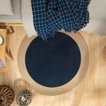 Round Jüt Kilim 120 Cm Lacivert