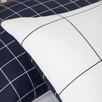 Plain Check Kombin Pamuklu 2'li Yastık Kılıfı 50x70 Cm Beyaz - Lacivert