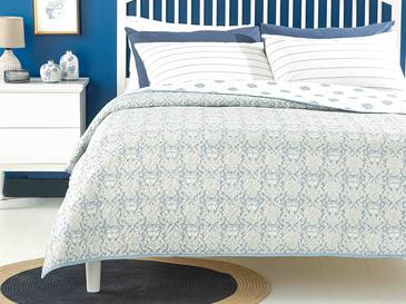 Leaves Shawl Tek Kişilik Çok Amaçlı Yatak Örtüsü 160x220 Cm Mavi