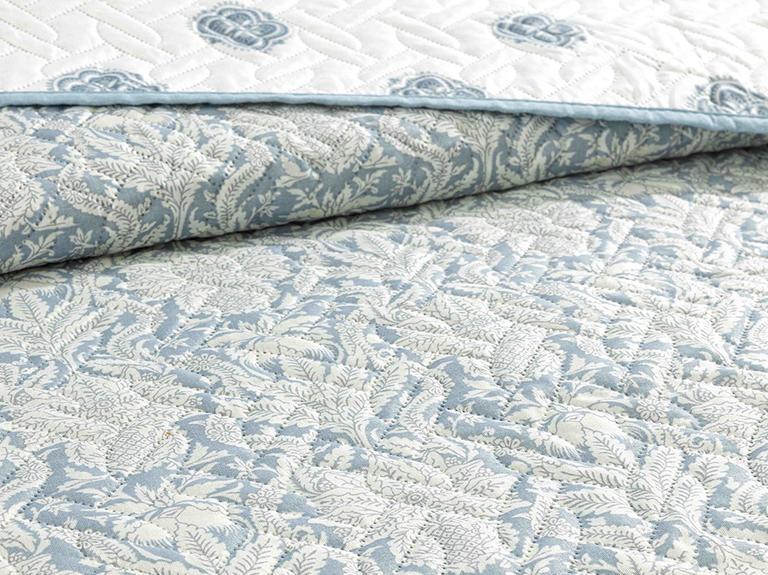 Leaves Shawl Çift Kişilik Çok Amaçlı Yatak Örtüsü 200x220 Cm Mavi