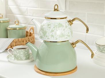 Dande Emaye Çaydanlık 1,1 Litre + 2,3 Litre Beyaz - Yeşil