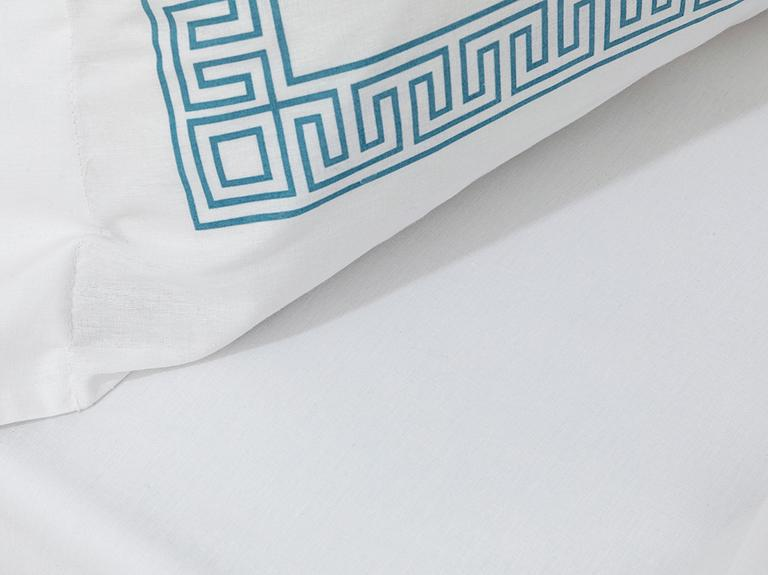 Greek Ribbon Pamuklu King Size Nevresim Takımı 240x220 Cm Turkuaz