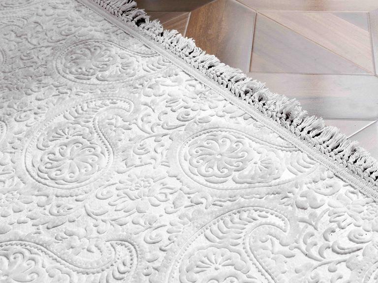 Şal Desen Polyester Halı 80x300 Cm Gri