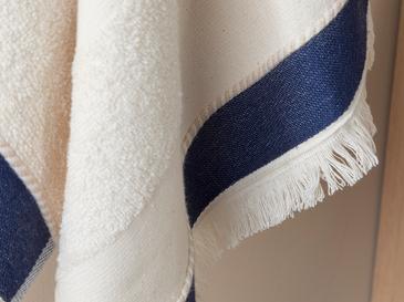 Marine Stripe Yıkamalı Yüz Havlusu 50x80 Cm Bej – Lacivert