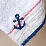 Anchor Nakışlı Yüz Havlusu 50x80 Cm Beyaz