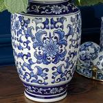 Lisburn Porselen Vazo 20x20x21 Cm Mavi-beyaz