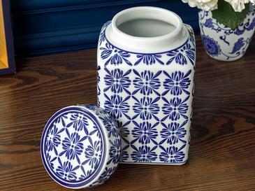 Bradford Porselen Küp 12x12x20 Cm Mavi-beyaz