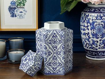 Chester Porselen Küp 17x15x25 Cm Mavi-beyaz