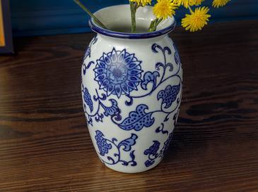Cardiff Porselen Vazo 9x9x14 Cm Mavi-beyaz